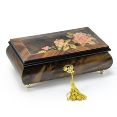 Elegant A Rose in Transition from bud to bloom 22 Note Musical Jewelry Box