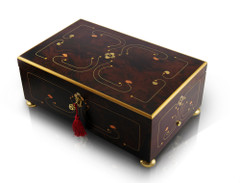 Sophisticated 50 Note Dark Walnut Grand Arabesque with Gold Accents Music Box