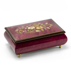 Remarkable 30 Note Red Wine Floral Theme Wood Inlay Musical Jewelry Box