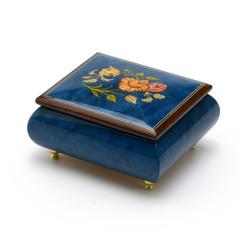 Vibrant Royal Blue Floral Wood Inlay Music Box