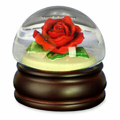 Realistic Red Rose Mushroom Water Globe by San Francisco Music Box Co