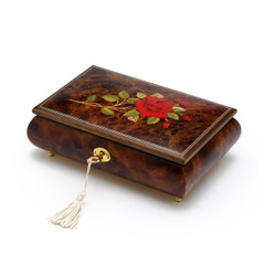 Handcrafted 36 Note Single Stem Red Rose Musical Jewelry Box