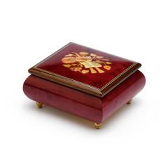 Inspiring Red Wine Music Theme with Violin Wood Inlay Music Box
