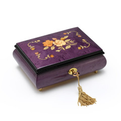 Gorgeous Handcrafted Purple 30 Note Music Jewelry Box with Traditional Floral Inlay