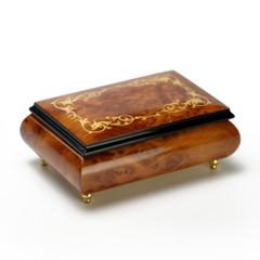 Gorgeous Burl-Elm Arabesque Inlay 22 Note Music Jewelry Box