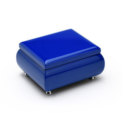High Gloss Navy Blue 18 Note Musical Jewelry Box Keepsake