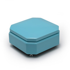 Breathtaking 30 Note Tiffany Blue Musical Jewelry Box with Silver Hardware