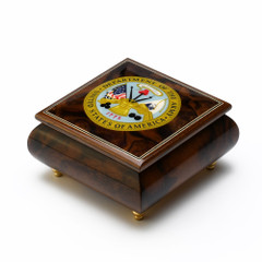 One of a Kind United States Army Insignia Wood Inlay 18 Note Music Box
