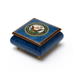 Made in Italy United States Navy Insignia Wood Inlay 18 Note Music Box