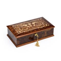 Amazing 36 Note Burl-Elm Grand Italian Arabesque Wood Inlay Musical Jewelry Box