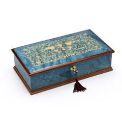 Gorgeous Italian Sea Blue 22 Note Grand Arabesque Wood Inlay Musical Jewelry Box