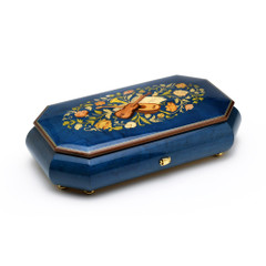 Royal Blue 72 Note Sankyo Musical Instrument Theme Italian Inlay Grand Music Jewelry Box