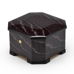 Exotic Dark Purple Handcrafted Italian Octagonal 30 Note Musical Jewelry Box
