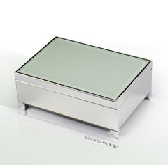 Contemporary 30 Note Beveled Glass Top Silver Musical Jewelry Box