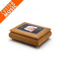 4 x 6 Oak Finish Custom USB Module Photo Frame Music Box