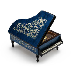 Incredible Full All Around Inlay 22 Note Royal Blue Grand Piano Arabesque Inlay Music Box