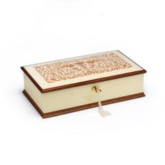Prestigious 22 Note Ivory White Grand Italian Arabesque Wood Inlay Musical Jewelry Box