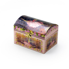 Silver and Pink Ballerinas and Roses Musical Spinning Ballerina Jewelry Box