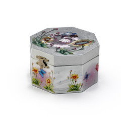 Octagonal Silver Fairy and Sunflowers Musical Spinning Ballerina Jewelry Box