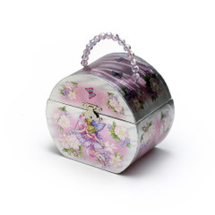 Adorable Silver Fairy with Flowers Musical Spinning Ballerina Jewelry Box with Handle