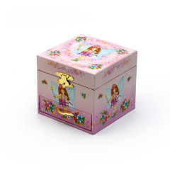 Cute Pink Fairy with Wings Ballerina Musical Spinning Ballerina Jewelry Box