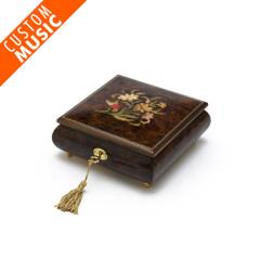 Custom Sound Module Digital Walnut Ladybug and Flowers Musical Jewelry Box