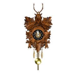 Traditional Carved Black Forest Quartz Mini Cuckoo Clock with 5 Leaves and Stag Head