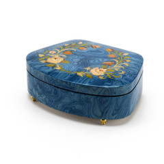 Sea Shell Shaped 22 Note Sea Blue Italian Music Box with Floral Motifs