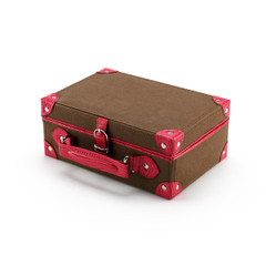 Large Travel Size Brown Polyester with Faux Pink Croc Leather Designer Jewelry Box