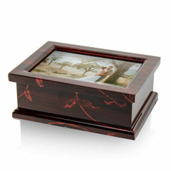Modern 23 Note 4 x 6 Photo Frame Musical Jewelry Box with Floral Motifs