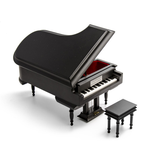 Sophisticated 30 Note Miniature Musical Matte Black Grand Piano with Bench