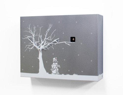 Contemporary Christmas Theme Modern Cuckoo Clock with Silver Wall with White Tree - by Progetti