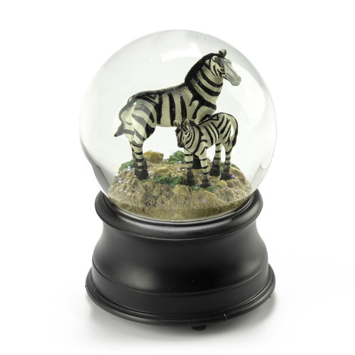 Mother Zebra and Baby Musical Water Globe - Choose Your Song