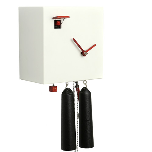 """Modern VDS Certified 8 Day White Romba Art Cuckoo Clock by Rombach and Haas (Extra 20% Off Sale Price - Code """"romba20"""")"""