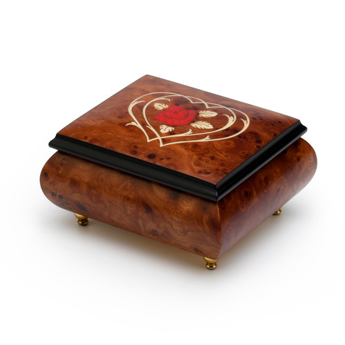 Harmonious Musical Jewelry Box with Flower and Double Heart Outline Wood Inlay
