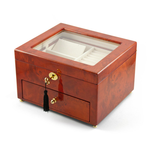 Classic Wood Tone Glass Panel 18 Note Music Jewelry Box