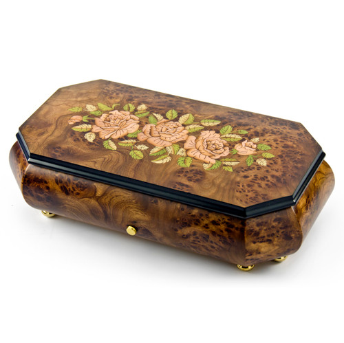 Gorgeous Swiss 72 Note Pink Roses Inlay with Cut Corners Inlay Grand Music Box