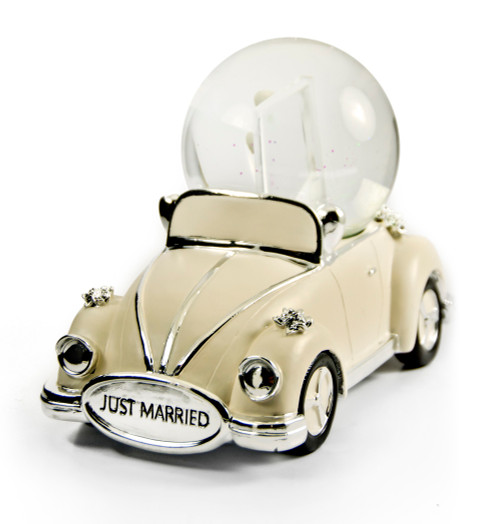 """Iconic """"Just Married"""" Ivory and Silver VW Beetle with Photo Frame Musical Snow Globe"""