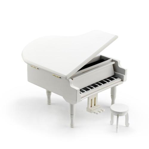 Gorgeous Small White Wooden Piano Musical Jewlery Box w Stool