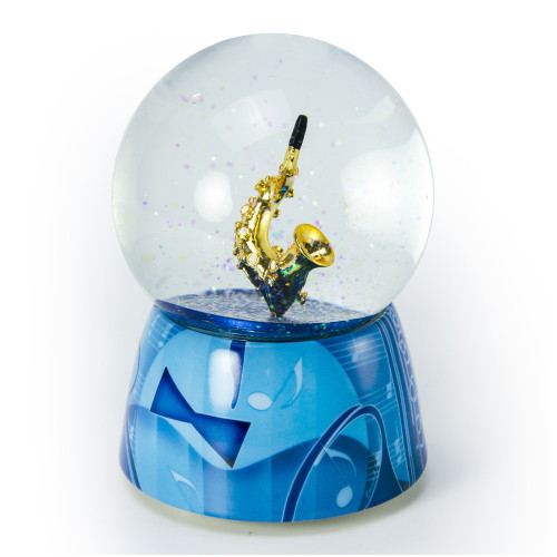 Stylistic Saxophone with Musical Motifs by Twinkle Waterglobes
