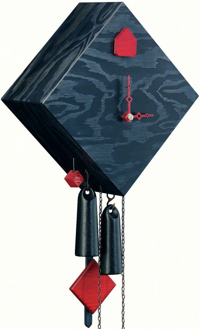 Modern VDS Certified Washed Black with Red Accents Romba Art Cuckoo Clock by Rombach and Haas