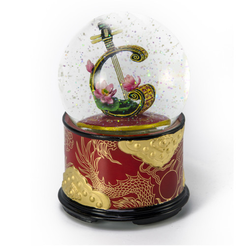 Moon Lute With Lotus Musical Water / Snow Globe By Twinkle, Inc
