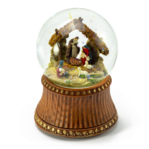 Nativity Scene with Stable and Decorative Base Musical Water Globe