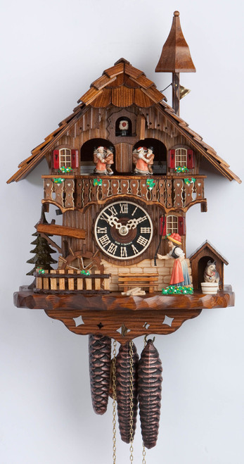1 Day Musical Black Forest Chalet Cuckoo Clock with Bell Tower and Bell Ringer By Hones