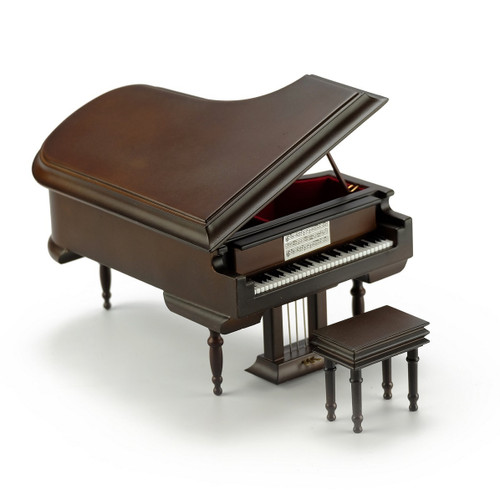 Sophisticated 30 Note Miniature Musical Matte Brown Grand Piano with Bench