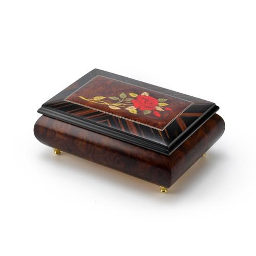 Radiant Single Stem Red Rose Musical Jewelry Box