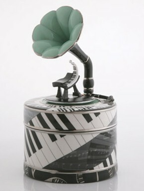 Porcelain Musical Jazz Theme Storage Box with Removable Spindle by Twinkle