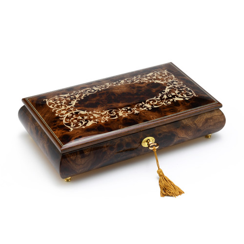 Handcrafted Arabesque Wood Inlay 18 Note Musical Jewelry Box with Lock and Key