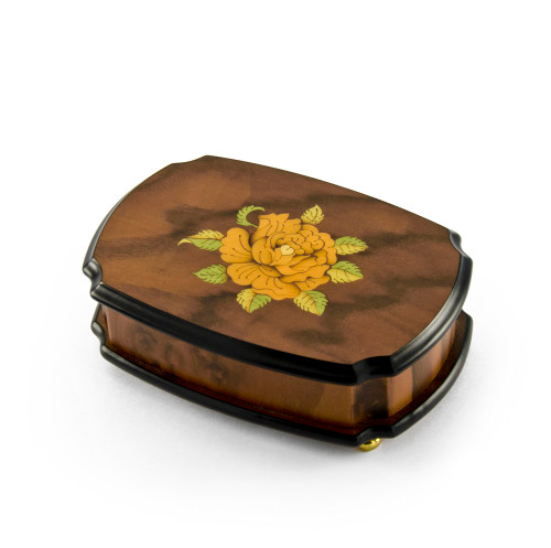 Handcrafted 18 Note Single Rose Sorrento Musical Jewelry Box