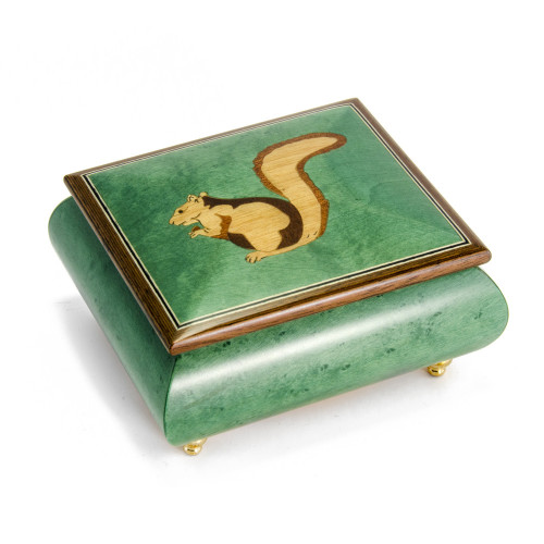 Forest Green Adorable Squirrel Wood Inlay 18 Note Musical Jewelry Box